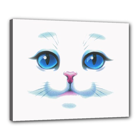 Cute White Cat Blue Eyes Face Canvas 20  X 16  by Amaryn4rt
