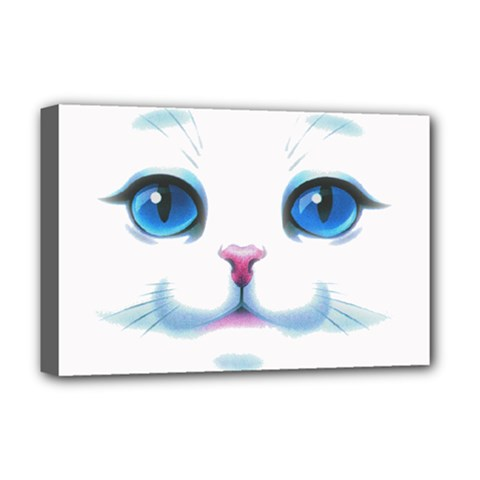 Cute White Cat Blue Eyes Face Deluxe Canvas 18  X 12   by Amaryn4rt