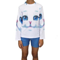 Cute White Cat Blue Eyes Face Kids  Long Sleeve Swimwear by Amaryn4rt