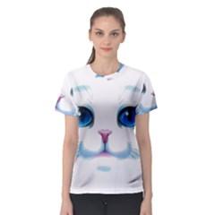 Cute White Cat Blue Eyes Face Women s Sport Mesh Tee by Amaryn4rt