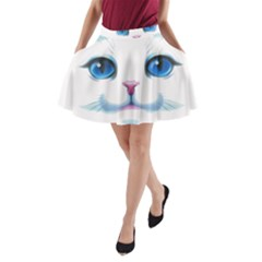 Cute White Cat Blue Eyes Face A Line Pocket Skirt by Amaryn4rt
