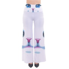 Cute White Cat Blue Eyes Face Pants by Amaryn4rt