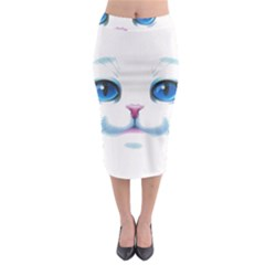 Cute White Cat Blue Eyes Face Midi Pencil Skirt by Amaryn4rt