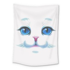Cute White Cat Blue Eyes Face Medium Tapestry by Amaryn4rt
