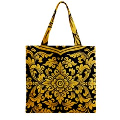 Flower Pattern In Traditional Thai Style Art Painting On Window Of The Temple Zipper Grocery Tote Bag by Amaryn4rt