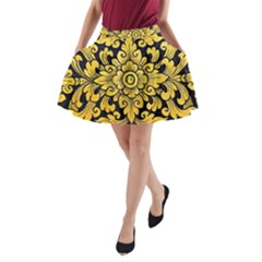 Flower Pattern In Traditional Thai Style Art Painting On Window Of The Temple A Line Pocket Skirt by Amaryn4rt