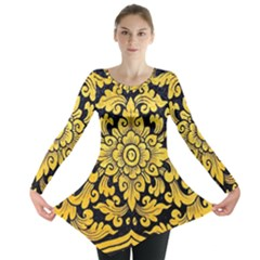 Flower Pattern In Traditional Thai Style Art Painting On Window Of The Temple Long Sleeve Tunic
