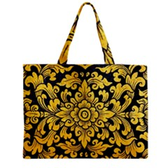 Flower Pattern In Traditional Thai Style Art Painting On Window Of The Temple Medium Tote Bag by Amaryn4rt