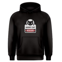 Black Angry Cat Beware  Men s Pullover Hoodie by FunnySaying