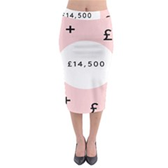 Added Less Equal With Pink White Midi Pencil Skirt by Alisyart