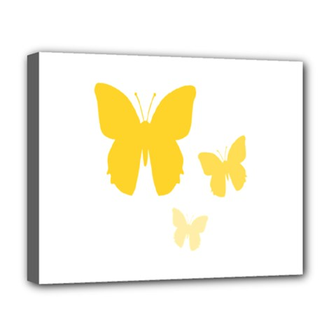 Yellow Butterfly Animals Fly Deluxe Canvas 20  X 16   by Alisyart