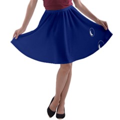 Bubbles Circle Blue A Line Skater Skirt by Alisyart