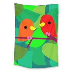 Animals Birds Red Orange Green Leaf Tree Large Tapestry by Alisyart