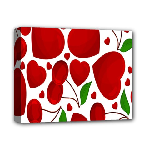 Cherry Fruit Red Love Heart Valentine Green Deluxe Canvas 14  X 11  by Alisyart