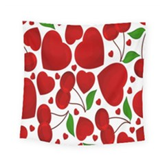 Cherry Fruit Red Love Heart Valentine Green Square Tapestry (small) by Alisyart