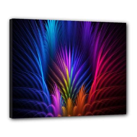 Bird Feathers Rainbow Color Pink Purple Blue Orange Gold Canvas 20  X 16  by Alisyart