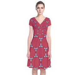 Circle Red Purple Short Sleeve Front Wrap Dress