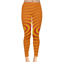 Circle Line Orange Hole Hypnotism Leggings  by Alisyart