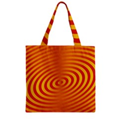 Circle Line Orange Hole Hypnotism Zipper Grocery Tote Bag by Alisyart