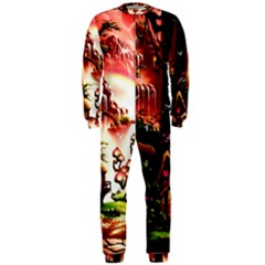 Fantasy Art Story Lodge Girl Rabbits Flowers Onepiece Jumpsuit (men)  by Onesevenart