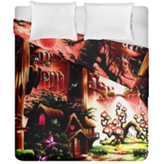 Fantasy Art Story Lodge Girl Rabbits Flowers Duvet Cover Double Side (california King Size) by Onesevenart