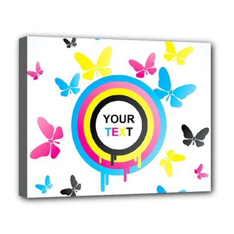 Colorful Butterfly Rainbow Circle Animals Fly Pink Yellow Black Blue Text Deluxe Canvas 20  X 16   by Alisyart