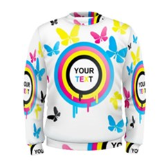 Colorful Butterfly Rainbow Circle Animals Fly Pink Yellow Black Blue Text Men s Sweatshirt