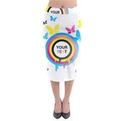 Colorful Butterfly Rainbow Circle Animals Fly Pink Yellow Black Blue Text Midi Pencil Skirt