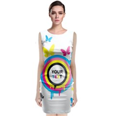 Colorful Butterfly Rainbow Circle Animals Fly Pink Yellow Black Blue Text Sleeveless Velvet Midi Dress
