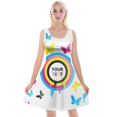 Colorful Butterfly Rainbow Circle Animals Fly Pink Yellow Black Blue Text Reversible Velvet Sleeveless Dress