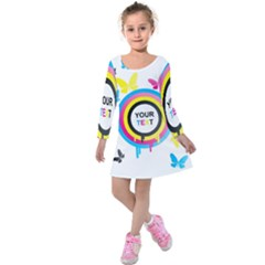 Colorful Butterfly Rainbow Circle Animals Fly Pink Yellow Black Blue Text Kids  Long Sleeve Velvet Dress