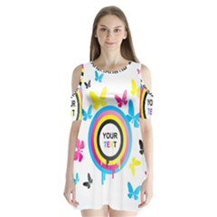 Colorful Butterfly Rainbow Circle Animals Fly Pink Yellow Black Blue Text Shoulder Cutout Velvet  One Piece