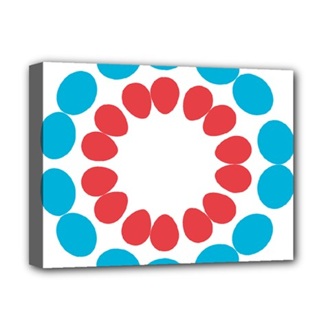 Egg Circles Blue Red White Deluxe Canvas 16  X 12   by Alisyart