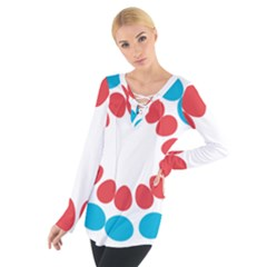 Egg Circles Blue Red White Women s Tie Up Tee