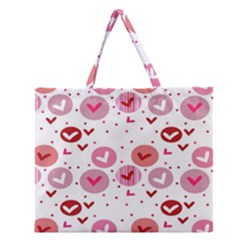 Crafts Chevron Cricle Pink Love Heart Valentine Zipper Large Tote Bag by Alisyart