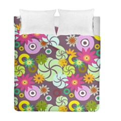 Floral Seamless Rose Sunflower Circle Red Pink Purple Yellow Duvet Cover Double Side (Full/ Double Size) by Alisyart