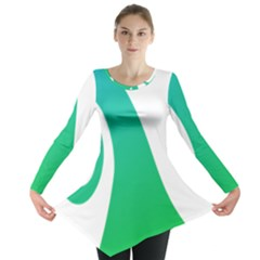 Line Green Wave Long Sleeve Tunic  by Alisyart