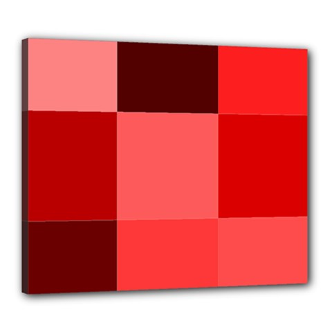Red Flag Plaid Canvas 24  X 20  by Alisyart