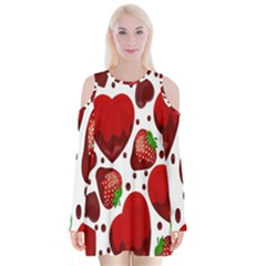 Strawberry Hearts Cocolate Love Valentine Pink Fruit Red Velvet Long Sleeve Shoulder Cutout Dress