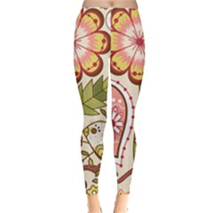 Seamless Texture Flowers Floral Rose Sunflower Leaf Animals Bird Pink Heart Valentine Love Leggings