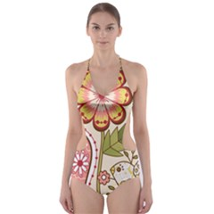 Seamless Texture Flowers Floral Rose Sunflower Leaf Animals Bird Pink Heart Valentine Love Cut Out One Piece Swimsuit