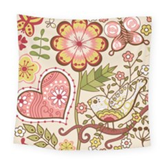 Seamless Texture Flowers Floral Rose Sunflower Leaf Animals Bird Pink Heart Valentine Love Square Tapestry (large)