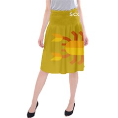 Animals Scorpio Zodiac Orange Yellow Midi Beach Skirt by Alisyart