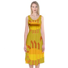 Animals Scorpio Zodiac Orange Yellow Midi Sleeveless Dress by Alisyart