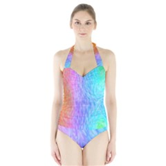 Abstract Color Pattern Textures Colouring Halter Swimsuit by Simbadda