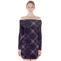 Abstract Seamless Pattern Long Sleeve Off Shoulder Dress