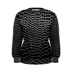 Black White Crocodile Background Women s Sweatshirt