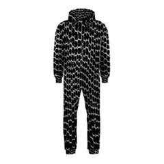 Black White Crocodile Background Hooded Jumpsuit (kids) by Simbadda