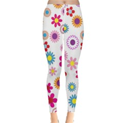 Colorful Floral Flowers Pattern Leggings  by Simbadda