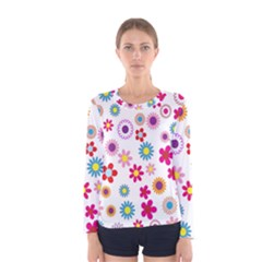 Colorful Floral Flowers Pattern Women s Long Sleeve Tee